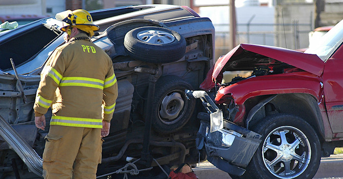 Fireman on the scene of a car accident